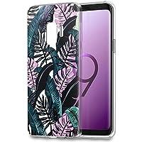 Funda Samsung Galaxy S9, Eouine Cárcasa Silicona 3d Transparente con Dibujos Diseño Suave Gel TPU [Antigolpes] de Protector Bumper Case Cover Fundas para Movil Samsung Galaxy S9 - 5,8 Pulgadas (Hojas negras)