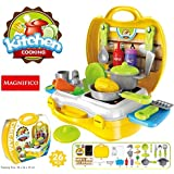 MAGNIFICO® 26 Pieces Kitchen Set Pretend Play Toys for Girls with Suitcase Carry Case, Yellow Color