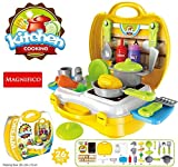 MAGNIFICO® 26 Pieces Kitchen Set Pretend Play Toys for Girls with Suitcase Carry