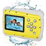Bybrutek Fotocamera per Bambini, Videocamera 12MP HD Subacquea per Bambini con un'impeamebilità da 3M, LCD da 2 Pollici, Zoom Digitale 4x, Fotocamera Digitale CMOS da 5 MP (Giallo) immagine