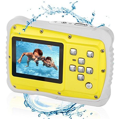 Galleria fotografica Bybrutek Fotocamera per Bambini, Videocamera 12MP HD Subacquea per Bambini con un'impeamebilità da 3M, LCD da 2 Pollici, Zoom Digitale 4x, Fotocamera Digitale CMOS da 5 MP (Giallo)
