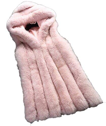 Hikenn Damen Fur-Weste Fell Jacke Winter Parka Fellmantel Coats Kunstpelz mit Kapuzen Rosa