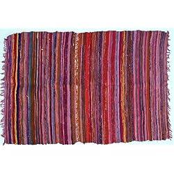Guru-Shop Alfombra Ligera Patchwork, Manta Patchwork 100x160 cm, de Color Rojo, Algodón, Color: de Color Rojo, Alfombras y Tapetes
