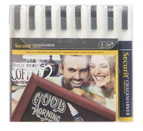 Securit Kreidestifte Mittel(2-6mm) alle Weiß (8er) (Liquid Chalk Marker 3mm)