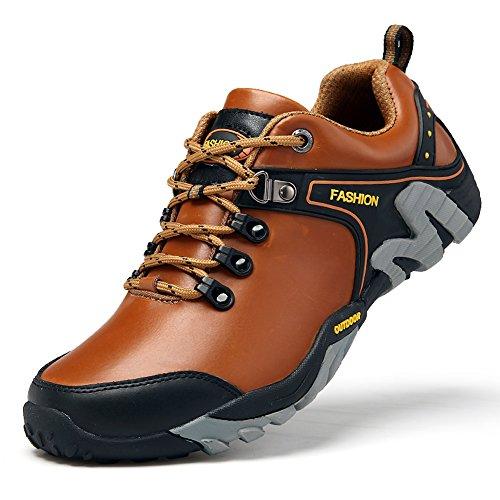 GOMNEAR Trekking Chaussures de Marche Chaussures en Cuir Pour Hommes en Cuir et en Plein Air Light Brown