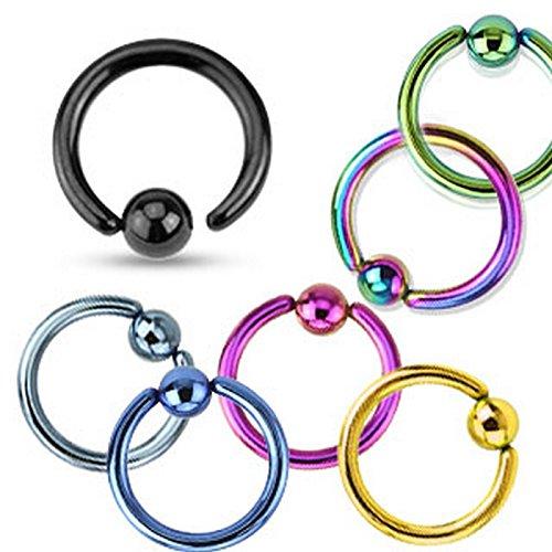 Piercing anneau en acier chirurgical 316L Arc ciel Taille 1 mm x 8 mm x 3 mm