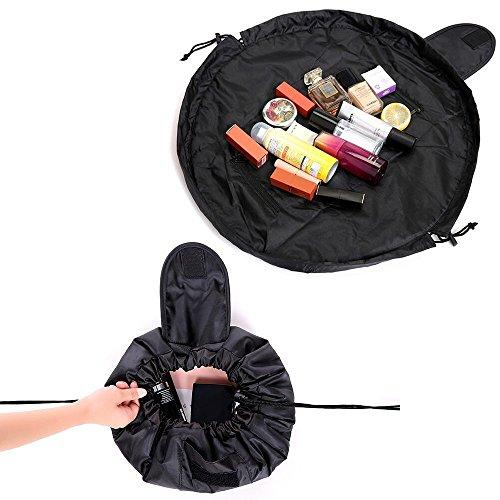 Lazy Kosmetiktasche, Portable faltbare ieasky Frauen große Kapazität Make-up Kulturbeutel Schmuck Organizer mit Reißverschluss und Drawstrings schwarz (Mit Multifunktions-organizer Reißverschluss)