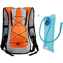Idratazione ciclismo zaino pacchetto con un sacchetto 2L dell'acqua, design bello e tessuto resistente materiale, iParaAiluRy - Arancione Menta Dell'erba