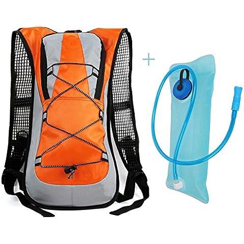 Hidratación ciclismo Mochila Paquete con una bolsa de 2 litros de agua, Diseño Hermoso y durable material de la tela,