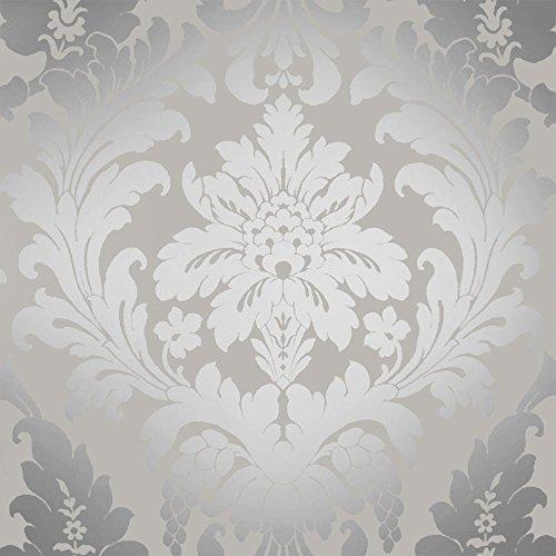 Shimmer metallic grande damask wallpaper soft grey silver ilw261539