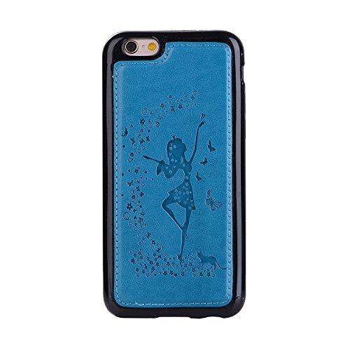 iPhone 6 Plus/6S Plus Coque, Voguecase Etui pratique et original en cuir synthétique, avec fermeture à aimant, housse de protection interne silicon antichoc de qualité avec coque en internal silicone  Fille et chat-Bleu
