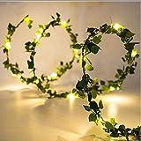 Kupferdraht lichterkette 2 mt 20 leds mit blattgirlande, lichterketten für zu hause raum dekorative, party supply diy dekoration
