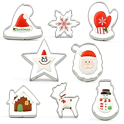 KENIAO Christmas Cookie Cutters, Christmas Tree Biscuit Cutter, Star/Snowflake/Santa/Snowman Cookie