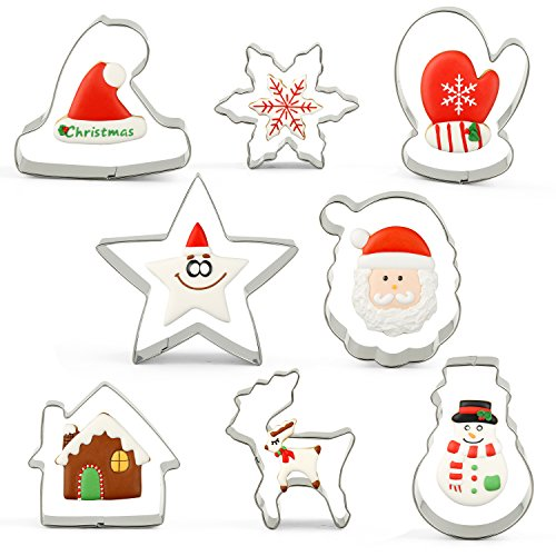 KENIAO 8-tlg Weihnachten Ausstechformen Weihnachtsbaum Ausstecher ,Stern / Schneeflocke / Weihnachtsmann / Schneemann Ausstechformen Torten Fondant