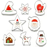 Cookie Cutters, acero inoxidable, Christmas Set Pack of 8