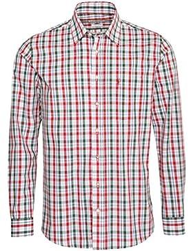 Almsach Trachtenhemd Jörg Regular Fit Zweifarbig in Rot und Dunkelgrün Inklusive Volksfestfinder