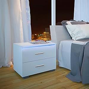 Miadomodo - Table de Chevet Blanche 48 x 39 x 36 cm Table de Nuit avec 2 Tiroirs (Quantité au Choix)