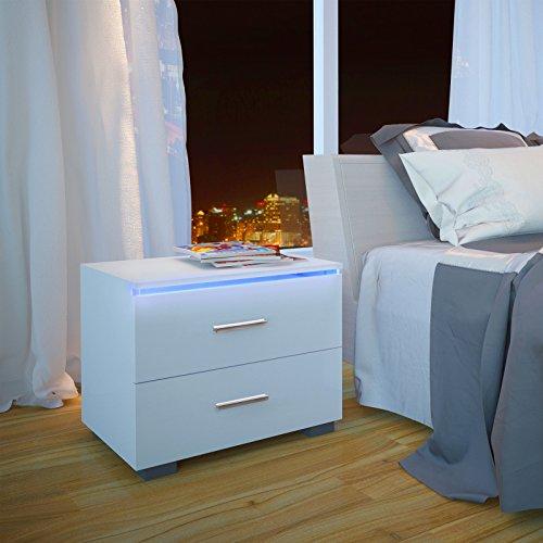 MIADOMODO Nachttisch Weiß Hochglanz 2er Set für Boxspringbett mit 2 Schubladen, im modernem Design | Nachtschrank, Nachtkommode, Nachtschränkchen, Betttisch