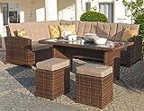 Mojawo Luxus Ecklounge 5-teilig Gartenmöbel Rattan Set Eck Sofa Garten Sitzgruppe Lounge Gartengarnitur Gartentisch Gartensofa Chiara Braun