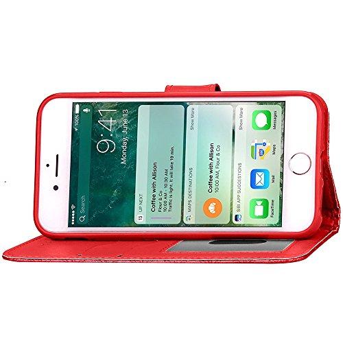 Wkae Case Cover Étui en cuir souple TPU couverture de haute qualité PU, Carré Lattiece Grille Motif Wallet Case Support Window Case photo pour Apple iPhone 7 ( Color : Blue , Size : IPhone 7 ) Red
