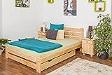 Kinderbett/Jugendbett Kiefer Vollholz massiv natur A24, inkl. Lattenrost - Abmessung 140 x 200 cm