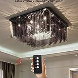 Junhong Lighting LED 3 Helligkeit Kristall Lampe Modern Schwarzes Titan Farbe Rechteckig LED Deckenleuchte Schlafzimmer Lampe Restaurant Licht Luxus Atmosphäre Wohnzimmer Lampe Mit Fernbedienung (L100cm x W80cm x H35cm)