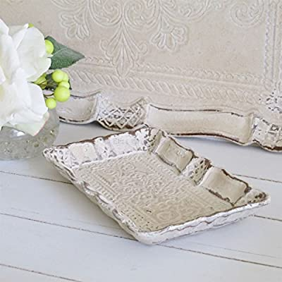 Cream Carved Trinket Tray Dressing Table Jewellery Tray - low-cost UK dressing table shop.