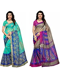 Fabwomen Sarees Floral Print MULTI-COLOURED Cotton Art Silk Traditional Festive Wear Women's Sarees Combo.(Pack...