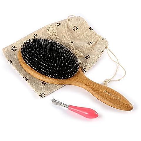 Borsten büschel Bambus Holz Massage Kamm, Knoten Keine Statische Bequem und Strapazierfähig Großes Paddel Haarbürste Mit Gasbag (Professionelle Styling Bürste)