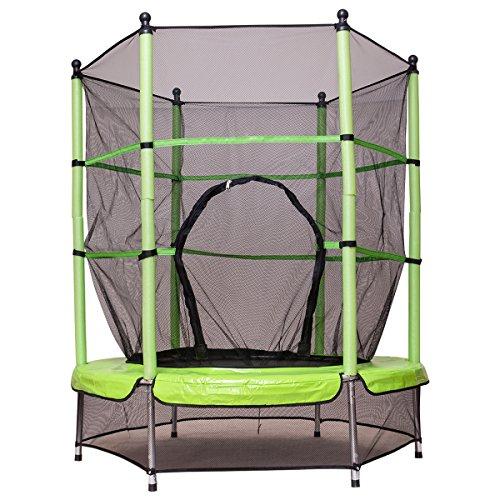 Costway Trampolin Gartentrampolin Kindertrampolin Indoortrampolin Outdoor Trampolin mit Sicherheitsnetz Sicherheitstrampolin Ø 140 cm