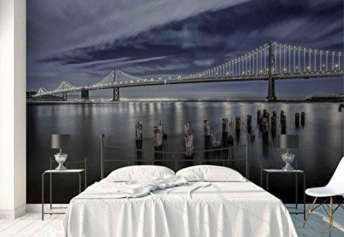 Vlies Fototapete Fotomural - Wandbild - Tapete - Hängebrücke Viadukt Meer Panorama - Thema Architektur - XXL - 416cm x 290cm (BxH) - 4 Teilig - Gedrückt auf 130gsm Vlies - 1X-1285210VEXXXXL
