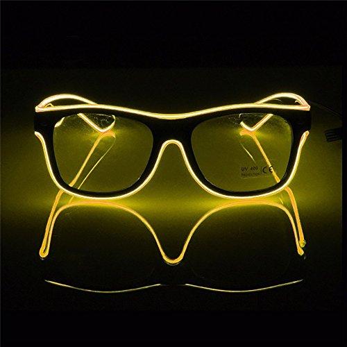 (OMOUP Blinkende Beleuchtung el Draht führte Gläser leuchtende Partei dekorative Beleuchtung Gläser Geschenk helle Party Brille mit Batterie Box für Weihnachten / Halloween-Partys(Gelb))