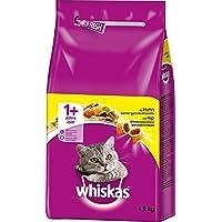 Whiskas Katzen-/Trockenfutter Adult 1+ für erwachsene Katzen mit Huhn, 2 Beutel (2 x 1,9 kg)