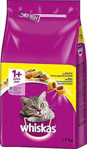 Whiskas Katzenfutter Trockenfutter Adult 1+ mit Huhn, 2 Beutel (2 x 1,9 kg)