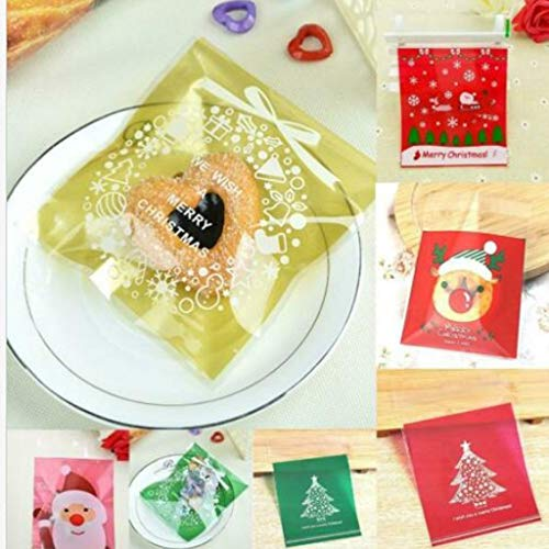 Dasongff 100 x Weihnachts-Geschenktüten für Kekse, selbstklebend, Süßigkeiten, Dekoration, Gebäcktüten, Plastikverpackungen Gebäcktüten Bodenbeutel Beutel Weihnachten Weihnachtsbeutel