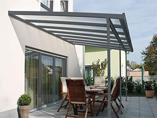 Gutta Terrassendachsystem Terrassenüberdachung Terrasse Überdachung Alu Anthrazit 3x3 4,2x3 5,4x3 m (5,4 x 3 m)