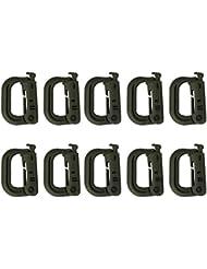 PIXNOR 10pcs anilla en D multiusos Grimloc bloqueo hebilla para cinchas Molle (gris verde)