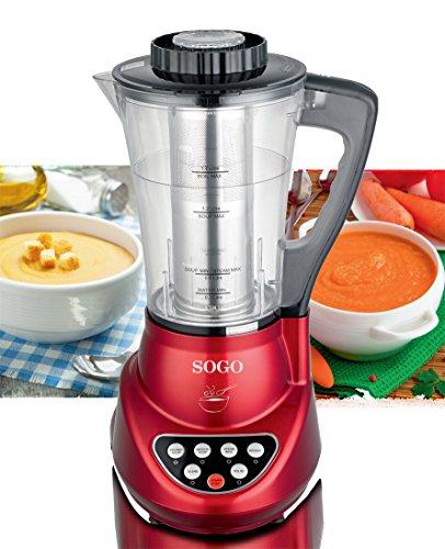 Sogo BAT-SS-14600 Robot de cocina 2 en 1 con batidora y máquina para hacer sopa 280 W, 1.7 litros, Plástico, Rojo