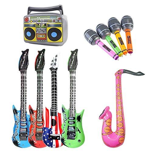 Dsaren Aufblasbare Instrumente Luftgitarre Musikinstrument Spielzeug Partyzubehör für Kindergeburtstagsfeier, Konzert und Hochzeit, 10 Stück (Zufällige Farbe)