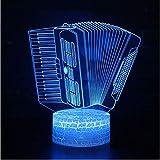 3D Illusion Night Light 7 colori Led Vision Strumento musicale Fisarmonica Pulsante Mood Girl Decorazione Giocattolo Compleanno Halloween Colorato Regalo creativo Telecomando