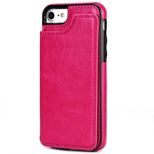 Verrückte Pferd Textur Leder zurück Tasche Geldbörse Tasche Tasche mit Kickstand & Card Slots für iPhone 6 & 6s ( Color : Red ) Rose