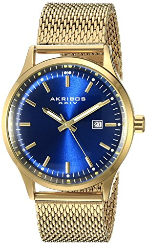 Akribos XXIV Men's AK901RGBU Blue Dial Gold-Tone Quartz Stainles Steel Mesh Bracelet Watch