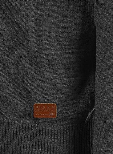BLEND Lasse Herren Strickpullover Feinstrick Pulli mit V-Ausschnitt aus hochwertiger Baumwollmischung Meliert Charcoal (70818)