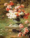 Rihe Malen Nach Zahlen, DIY Ölgemälde Blumen Leinwand Drucken Wandkunst Haus Dekoration Ohne Rahmen