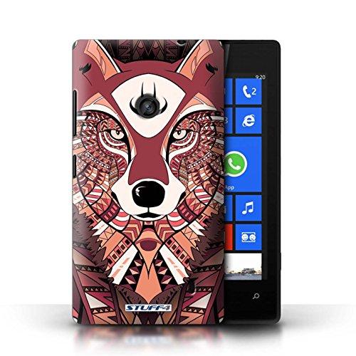 Etui / Coque pour Nokia Lumia 520 / éléphant-Couleur conception / Collection de Motif Animaux Aztec Loup-Rouge