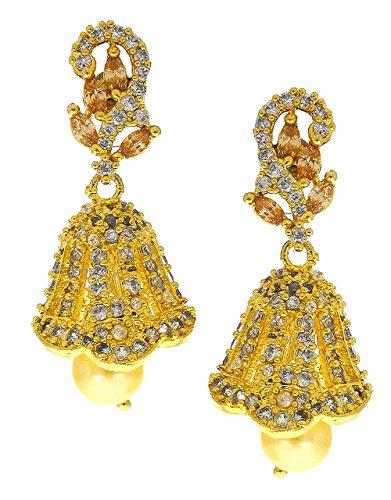 Anuradha Art Golden Finish Wonderful Designer Studded Pink Colour American Diamonds Stone Jhumki/Jhumkas Earrings For Women/Girls  available at amazon for Rs.500