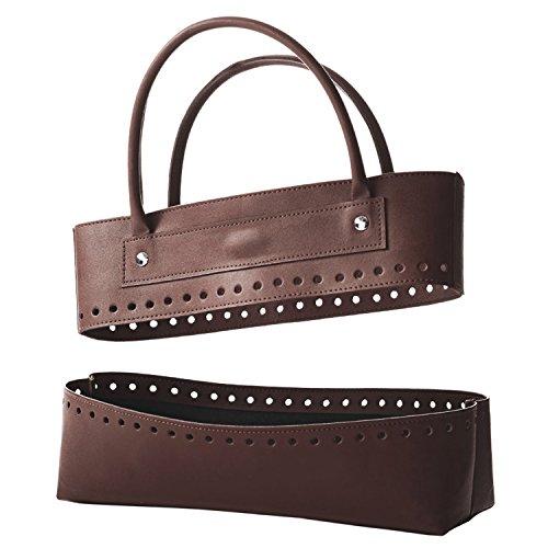 Unten Blöcke (KnitPro Oben und unten Hand Block bedruckter Stoff Storage Solutions Aufnäher Kit Tasche in Kunstleder, braun)