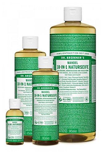 Dr. Bronner´s Naturseife Mandel 18-in-1 Magic Soap natürliche Flüssigseife aus biologischem Anbau, vegan, keine Zusatzstoffe, Fair Trade zertifizierte Bioseife (1x945ml) -