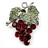 Spilla in cristallo Swarovski a forma di grappoli d'uva (rosso bordeaux e verde chiaro, argento)