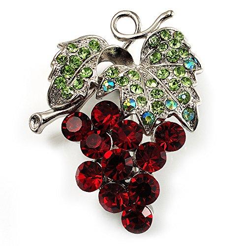 swarovski-crystal-bunch-of-grapes-brooch-burgundy-red-light-green-silver-tone
